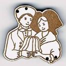 BD020B - Bouton couple d'Alsaciens