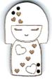 BD300B- Bouton poupée japonaise coeur, Kokeshi