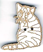 BG007 - Bouton chat tigré n°2