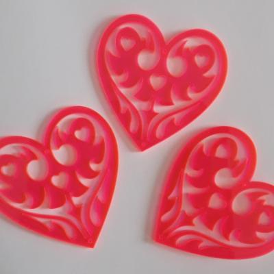CAF05- Coeur rose orangé flashy lot de 3 pc