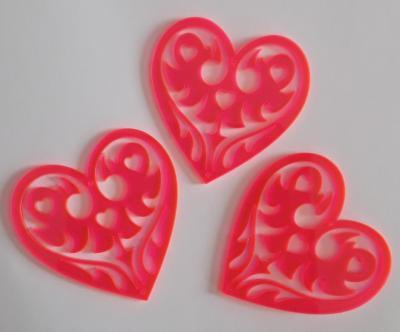 CAF05- Coeur rose orangé flashy lot de 3 pc