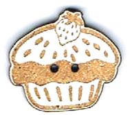 BI001- Bouton Cup cake fraise