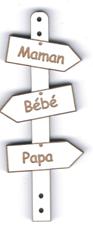 BD527 - Bouton flèche, Maman Bébé Papa