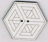 BF614 - Bouton hexagonal géométrique