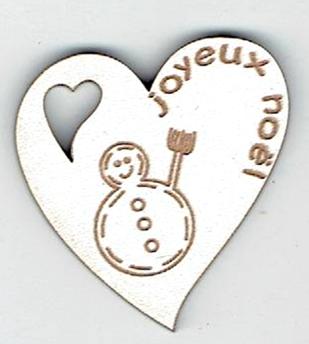BN405- Coeur, bonhomme de neige