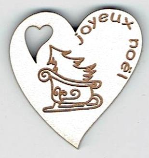 BN413- Coeur,  sapin et traineau