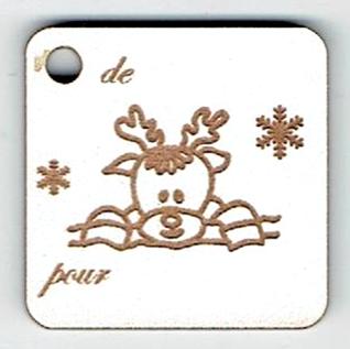 BN501- Etiquette cadeau, tête de renne