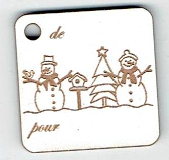 BN504- Etiquette cadeau, famille de bonhomme de neige