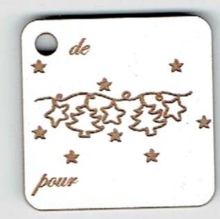 BN509- Etiquette cadeau, guirlande étoile