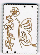 CG001 - Bouton décoratif rectangle papillon et coquelicot